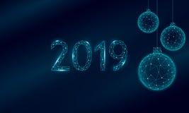 Baixo cartão poli do feriado das bolas da árvore de Natal 3D Preto escuro azul do céu noturno do ano novo feliz Números da data 2 ilustração stock