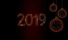 Baixo cartão poli do feriado das bolas da árvore de Natal 3D Preto escuro do céu noturno do ouro do ano novo feliz 2019 dourados  ilustração royalty free