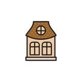 Baixo casa municipal isolada da cor cor-de-rosa no ícone do estilo do lineart, elemento do vetor arquitetónico urbano da construç Fotografia de Stock