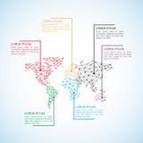 Baixo conceito poli estilizado do mapa do mundo com construção prendida do conceito da conexão Fundo do infographics do negócio d Fotos de Stock Royalty Free