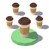 Baixo copo de café isométrico poli Fotos de Stock