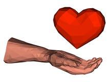 Baixo coração poli do triângulo na mão poligonal ilustração do vetor