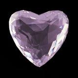 Baixo coração de cristal branco poli bonito isolado no fundo preto O conceito do dia de Valentim rende Imagem de Stock