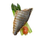 Baixo de mar Roasted com vegetais Imagem de Stock