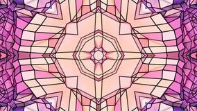Baixo fundo abstrato geométrico poli como um vitral ou um efeito movente do caleidoscópio em 4k Animação do laço 3d vídeos de arquivo