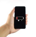Baixo fundo branco da bateria esperta do telefone Imagem de Stock Royalty Free