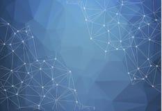 Baixo fundo brilhante azul poli abstrato do vetor da tecnologia conn ilustração stock