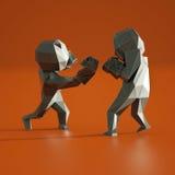 Baixo homem poli, esporte que encaixota a rendição 3D Fotografia de Stock