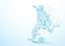 Baixo jogador de futebol abstrato do polígono que retrocede o fundo da bola ilustração royalty free