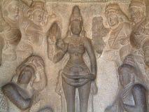 Baixo-Relevo do templo de Mahabalipuram fotos de stock