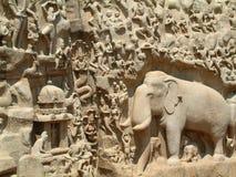 Baixo-Relevo do templo de Mahabalipuram imagens de stock