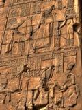 Baixo relevo no templo de Karnak em Luxor (Egito) Imagens de Stock Royalty Free
