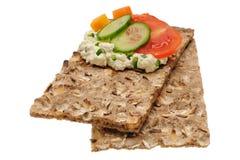 Baixo sanduíche aberto calórico Isolado no branco Foto de Stock Royalty Free