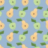 Baixo teste padrão sem emenda poli com maçãs e peras Imagem de Stock