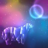 Baixo urso polar de cristal poli Fundo do espaço com estrelas e planetas ilustração do vetor