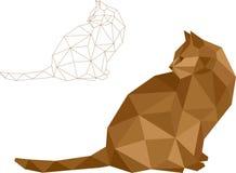Baixo vetor do gato do polígono Foto de Stock Royalty Free