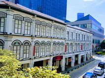 Baixos shophouses no bairro chinês, Singapura Fotos de Stock Royalty Free