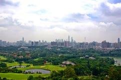 从baiyun山的广州视图 免版税库存照片