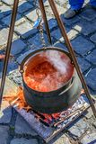 Baja, Bács-Kiskun, Hungary. St. John`s festival in Baja. On the occasion of St. John`s, there is a competition between different neighborhoods who can cook the Stock Image