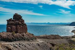 Baja California desert and cortez sea landscape view Stock Photo