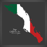 Baja California Sur map with Mexican national flag illustration Royalty Free Stock Images