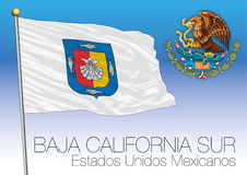 Baja California Sur regional flag, United Mexican States, Mexico Stock Image
