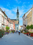 Baja street, Hungary. BAJA, HUNGARY - AUGUST 01, 2015: People on the street of Baja city center. Baja is a city in southern Hungary. Famous tourist destination Stock Photography