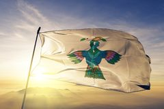 Baja Verapaz Department of Guatemala flag textile cloth fabric waving on the top sunrise mist fog. Beautiful royalty free stock photos