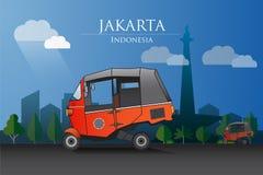 Bajaj de la India ahora se convierte en un icono de Jakarta ilustración del vector