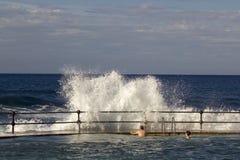 Bajamar Tenerife, November 2017: Turister observerar hur stora vågor som bryter på kusten Royaltyfri Fotografi