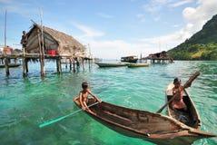 Bajau Laut Żartuje Sabah Borneo Zdjęcia Royalty Free