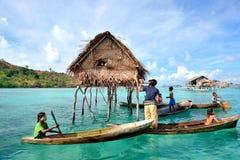 Bajau Laut doing their daily activities in Bodgaya Island, Sabah Borneo Stock Photography