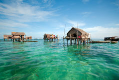 Bajau Laut Village. Bajau laut floating village of stilted houses off the coast of Borneo in The Celebes Sea in the vicinity of Sipidan and Tun Sakaran Marine stock images