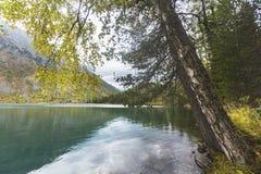 Baje el lago Multinskoe Paisaje de las montañas de Altai Fotografía de archivo