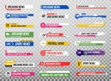 Baje la tercera plantilla Sistema de banderas y de barras de la TV para los canales de las noticias y del deporte, fluyendo y dif stock de ilustración