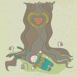 Bajecznie ilustracja dziecko który cieszy się odpoczynek pod drzewem. Obrazy Royalty Free
