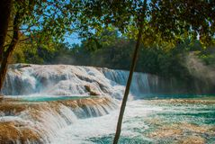 Bajecznie krajobraz z siklawy Agua Azul, Chiapas, Palenque, Meksyk Obraz Stock