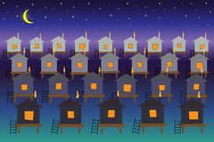Bajecznie miasto domy na wodzie przeciw tłu gwiaździsty nocne niebo ilustracja wektor