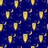 Bajecznie sowy na Błękitnym tle Zdjęcie Stock
