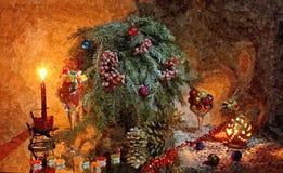 Bajecznie sylwester Święta świec, szklane życia cicho czerwonego wina Malować mokrą akwarelę na papierze Naiwna sztuka sztuka abs ilustracja wektor