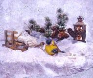 Bajecznie sylwester Egzekucja pragnienia święta bożego życie wciąż Malować mokrą akwarelę na papierze Naiwna sztuka sztuka abstra royalty ilustracja