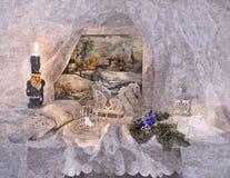Bajecznie sylwester Egzekucja pragnienia święta bożego życie wciąż Malować mokrą akwarelę na papierze Naiwna sztuka sztuka abstra ilustracja wektor