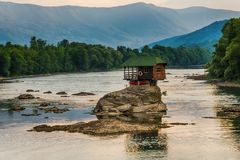 Lonely house on the river Drina in Bajina Basta, Serbia stock images