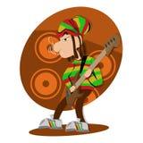 Bajista de la cerradura del pavor del reggae ilustración del vector
