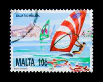 Bajja Tal Mellieha - Mellieha Bay, National Heritage of the Maltese Islands serie, circa 1991. MOSCOW, RUSSIA - NOVEMBER 23, 2017: A stamp printed in Malta shows Royalty Free Stock Images