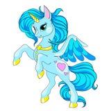 Bajka charakteru koń Kreskówki jednorożec Błękitna jednorożec z długą grzywą Wektor Odizolowywający Charakter jest bajecznie Zdjęcie Stock