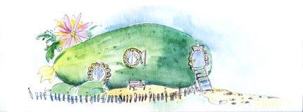 Bajka dom magiczny kraj Ogórek na ogródzie z okno, drzwi, schodkami i ogrodzeniem wokoło, ilustracja wektor