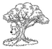 Bajka Duży wilk, Zła drzewo kreskówka i Obrazy Royalty Free