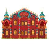 Bajka kasztel festively dekorował odosobnionego na białym tle Wektorowa kreskówki zakończenia ilustracja ilustracja wektor