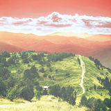 Bajka las w Retro stylu Papierowy rocznik Textured Góra krajobraz, Zdjęcie Royalty Free